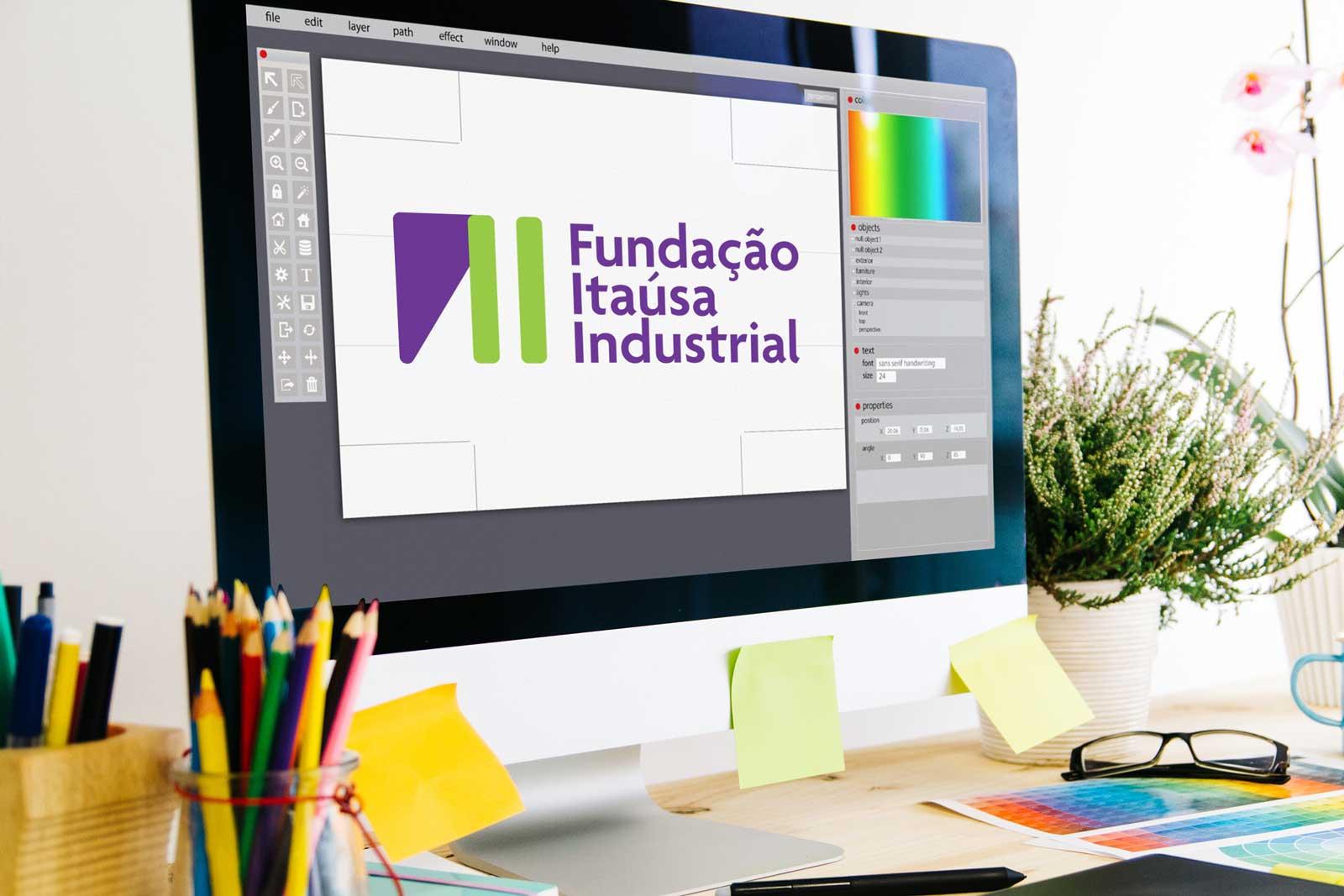 Tela de um computador com a nova logomarca da Fundação Itaúsa Industrial